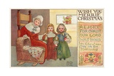 Wish You Merrie Christmas Postcard Giclee Print by Albertine Randall Wheelan