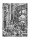Engraving of Workers at a London Warehouse Giclee Print by Gustave Doré