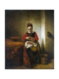 Young Woman Peeling Apples Giclee Print by Nicholaes Maes