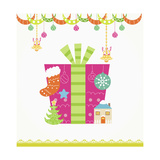 Christmas with Pink Gift Box and Decorations Giclee Print