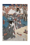 Court Ladies Gathering Maple Leaves Giclee Print by Utagawa Toyokuni