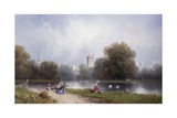 Westminster from St. James's Park Giclee Print by Carlo Bossoli