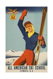 All American Ski School Travel Poster Giclee Print