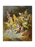 Still Life of Floxgloves, Mushrooms, Snapdragons, and Thistles Giclee Print by Thomas Worsey