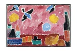 Still Life with Bottle, Bread and Red Wallpaper with Swallows Giclee Print by Alexej Von Jawlensky