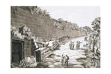Etching of Tourists on Excavated Roman Road Giclee Print by Luigi Rossini