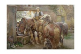 At the Village Pump Giclee Print by Charles James Adams