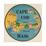 Cape Cod Travel Decal Giclee Print