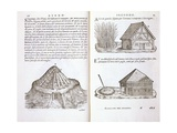 Illustration of Roof Thatching Techniques Giclee Print by Giovanni Antonio Rusconi