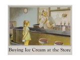 Buying Ice Cream at the Store Poster Giclee Print