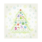 Christmas with Tree and Decorations Giclee Print