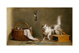A Mouse Trap with a Cat and Kittens in a Basket Giclee Print by Jean Jacques Bachelier