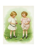 Illustration of Little Girls with Easter Eggs Giclee Print by Ida Waugh