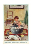 Boy Bathing His Little Brother Giclee Print