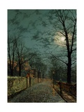 A Wet Winter's Evening Impression giclée par John Atkinson Grimshaw