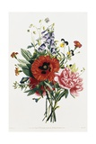 Bouquet of Foxglove, Poppy, and Peony Giclee Print by Jean Louis Prevost