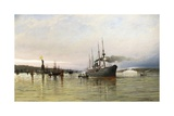 Shipping Near the Statue of Liberty Giclee Print by Christian Cornelius Dommerson