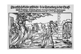 16th Century Print of People Burning Three Witches Alive Giclee Print
