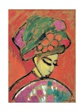 Young Girl with a Flowered Hat Giclee-trykk av Alexej Von Jawlensky