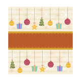 Christmas with Orange Line and Decorations Giclee Print