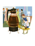 Coffee Carafe and Housewife Serving Coffee to Guests Giclee Print