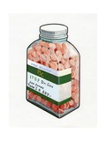 1960s Illustration of a Bottle of Prescription Pills Giclee Print
