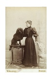 Albumen Print Card Showing Woman with a Black Miniature Poodle Giclee Print
