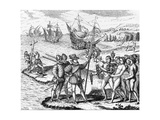 Etching of Spanish Explorers and Indigenous People Giclee Print by  Bertrand