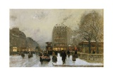 A Paris Street Scene in Winter Giclee Print by Luigi Loir