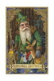 Christmas Greetings Postcard with Father Christmas Giclee Print