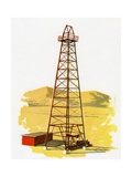 1960s Illustration of an Oil Derrick and Tower Giclee Print