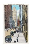 Wall Street Looking West, New York City Postcard Giclee Print by Irving Underhill
