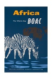 Africa: Fly There by Boac Travel Poster Gicléetryck