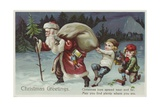 Christmas Greetings Postcard with Santa Claus and Two Children Giclee Print