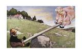 Illustration of a Boy and a Girl on a Seesaw Giclee Print by Jessie Willcox-Smith