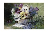 Pansies and Forget Me Not Giclee Print by Albert Tibulle de Furcy Lavault