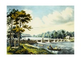 View on the Harlem River, N.Y., the Highbridge in the Distance Published Reproduction procédé giclée par  Currier & Ives