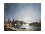 A Full Moon on the River at Brentford Giclee Print by Henry Pether