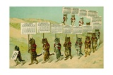 1897 Calendar with Parading Cats Giclee Print