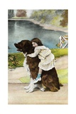 Color Print Postcard Showing Girl Hugging a Bernese Mountain Dog Giclee Print