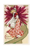 Christmas Wishes Postcard of a Woman and a Poinsettia Giclee Print