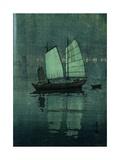 Night, from a Set of Six Prints of Sailing Boats Giclee-trykk av Hiroshi Yoshida