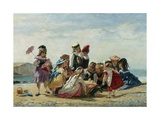 A Day at the Seaside Giclee Print by Timoleon Lobrichon