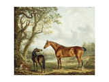 Hunters and a Spaniel in an Extensive Landscape Giclee Print by Charles Towne