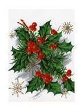 Christmas Greetings with Holly Leaves and Berries Giclee Print