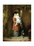 A Christmas Kiss Giclee Print by George Bernard O'neill