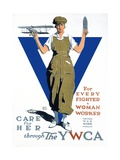 For Every Fighter a Woman Worker War Effort Poster Giclee Print by Adolph Triedler