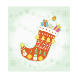 Christmas with Red Sock and Decorations Giclee Print