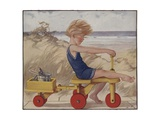 Child Near Windy Beach Giclee Print