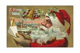 A Merry Christmas - Santa's List Postcard Gicléedruk